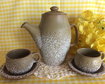 Superb Lava glaze tea coffee set Laurentian Pottery ceramic Tundra pattern Very rustic and chic