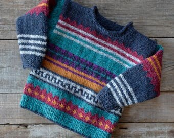 Colorful toddler sweater, hand knitted, Tweedwolle, 92-98