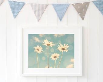 White daisy print, white daisy wall art, daisy home decor, flower wall art, dreamy daisy decor, daisy wall decor, sky blue daisy photography