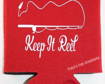 Keep it Reel Can Cooler, Can Cooler,Funny Can Cooler,Beverage Holder,Drink Hugger, Fish, Fishing, Fisherman, Real