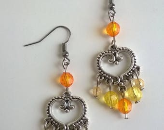 Bohemian heart and yellow beads earrings