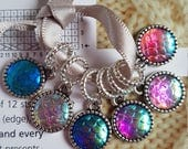 6 small  knitting stitch markers. Mermaid scales
