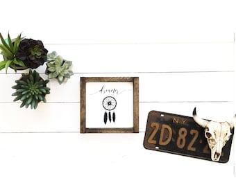 Wood sign, boho sign, boho decor, dreamer dream catcher