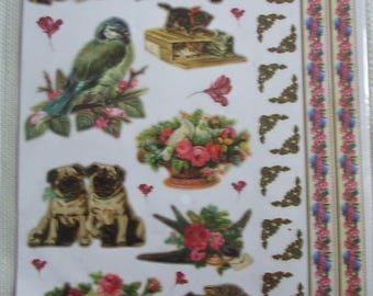 Lot 2 boards of stickers (cats, dogs, children, flowers, butterflies theme)