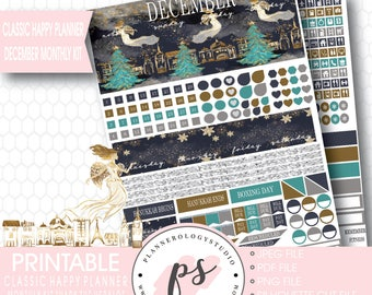 Hark the Herald Christmas December Monthly View Kit Printable Planner Stickers (for Classic Happy Planner)   JPG/PDF/Silhouette Cut File
