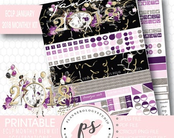 Celebrations New Year's January 2018 Monthly View Kit Printable Planner Stickers (for Erin Condren ECLP) | JPG/PDF/Silhouette Cut File