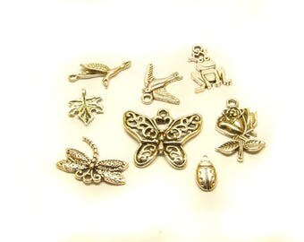 1 set of silver pendant animals Plants