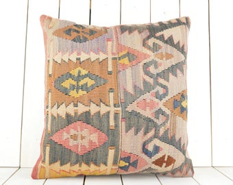 Turkish Kilim pillow, 20x20 inch, 50x50 cm kilim pillow cover, home decor, decorative throw pillow, turkish kilim pillow, home decor, pillow