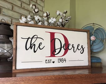 Personalized Name Sign - Established Sign - Farmhouse - Ruatic Decor - Fixer Upper Style - Wedding Gift