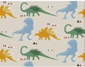 JERSEY Knit Fabric - Dinosaurs in Cream - UK Seller