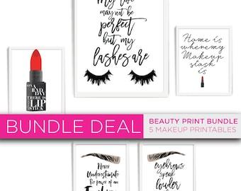 Makeup Print, Beauty prints, Digital Print, Eye Lashes Print, Make up Printable, Makeup Decor Prints,Instant Digital Download, Print bundle