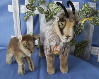 Vintage Steiff Mountain Goat with kid, with ID, very good condition