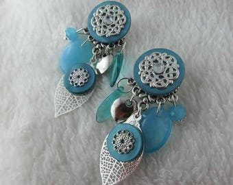 Earring oreillle clip Spring Leaves Turquoise (made in France)