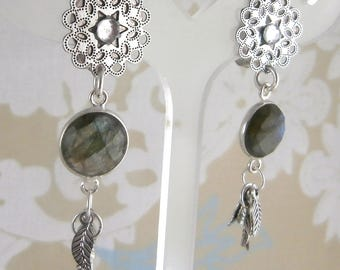 Earring clip Labradorite leaves (made in France)