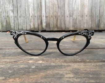 1950s Black Ornate Cat's Eye Glasses
