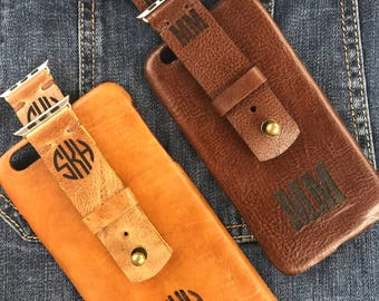 Monogrammed and Personalized iPhone Leather Case