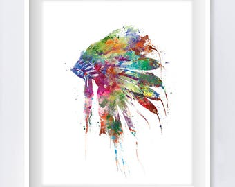 Headdress Art, Native American, Indian, Headdress Print, Wall Art, Painting, Watercolor, Art Print, Wall Hanging, Gift idea Digital Download