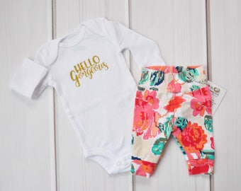 Baby Girl Coming Home Set, Baby Clothes, Baby Shower Gift, Floral Leggings, Baby Pants, Newborn Outfit, Hospital Outfit, Babies First Outfit
