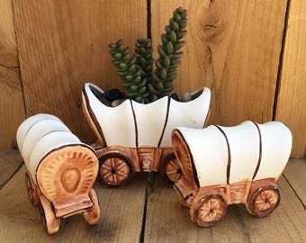 Vintage Western Salt and Pepper Shakers Covered Wagon Retro Kitchen Decor