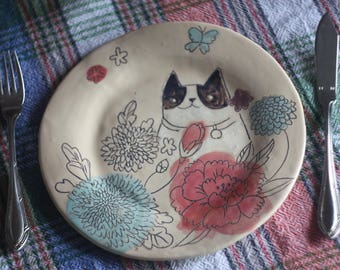 Personalized Ceramic Cat Plate/ Ceramic Cat/ Flower Plate/ Kitchen Decor/ Ceramic Flower Dish/ Plate with Cat
