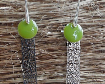 """Khaki"" silver filigree earrings"