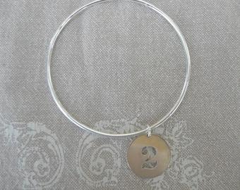 """Bracelet argent jonc """"Médaille Chiffre"""""""