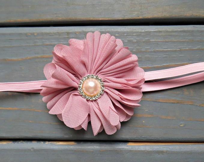 Pink Flower Headband, Baby Headband, Newborn Headband, Flower Headband, Vintage Headband, Shabby Chic Headband, Flower Girl Headband