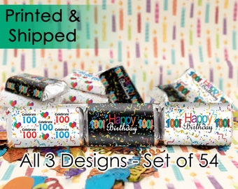 100th Birthday Party Favors, 100th Decorations, 100th Milestone, 100 Years Old, Hershey Mini Bar Candy Labels (Set of 54 Sticker Labels)