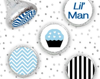 Little Man Boy Baby Shower Party Favors Chevron Stickers for Hershey Kiss Candy, Mustache Baby Shower Favors - Set of 324