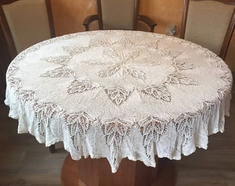 Round New Crochet Tablecloth 100% Cotton Handmade Beige Lace
