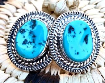 Navajo Kingman Turquoise Sterling Silver Post Earrings Signed
