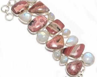 Rhodochrosite Bracelet //Pink Rhodochrosite //Statement Bracelet //925 Silver Jewelry //Handmade Jewelry //Rhodochrosite Gemstone Jewelry