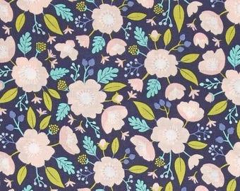 Camelot Fabric- Meadow- Wild Flowers in Dark Blue
