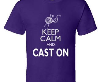Funny Knitting t shirt,knitters t shirt,gifts for knitters,knitting gifts,custom knitting t shirt,mothers day gift,keep calm and cast on