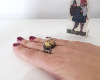 Outlet-40% ring with dome slide and small meadow flower