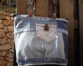 Tote handles leather patchwork jeans