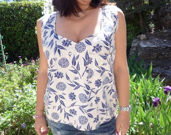 Tank top with square front neckline cotton yarn