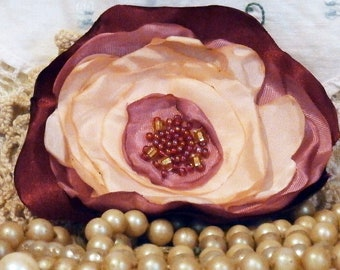 Handmade Pink Fabric Flower, Hair Accessory, Corsage, Embellishment