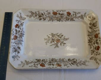 antique ironstone wedgewood rectangular platter / tray in floral pattern 1860 - 1908 era - fine china vintage - serving dish kitchen flowers
