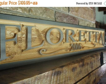 Back to School Sale custom last name sign, rustic kitchen decor, last name established sign, hand carved wood wall art, family name sign, cu