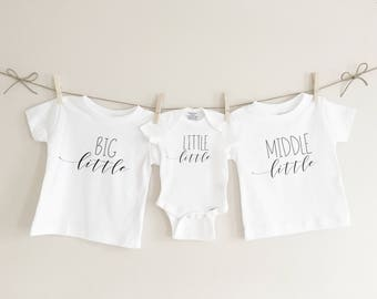 Big little middle little little little, sibling set, kids clothes, pregnancy announcement, baby announcement, baby shower gift