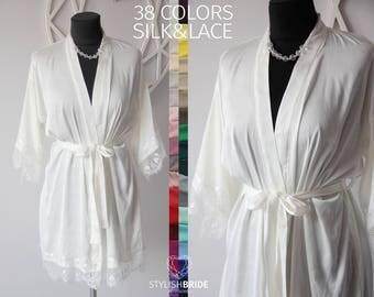 Silk Bridal Robe White Ivory Blush, Lace Bridal Robe, White Ivory Silk Wedding Robe, Lace Sleeve Robe, White Blue Wine Red Lace Robe