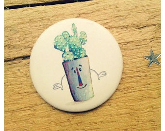 "Magnet illustrated ""Gus cactus"" 38mm, matte finish."