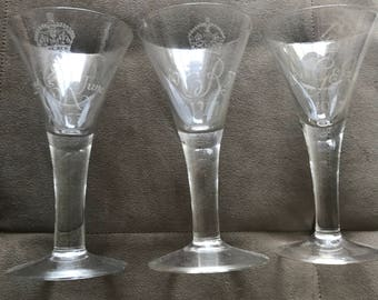Whitefriars Set of Three Coronation Goblets