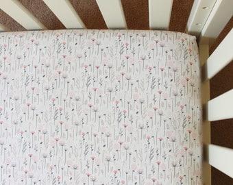 Wildflower Crib Sheet, gray pink crib sheet, floral crib sheet, baby bedding, crib bedding, baby girl nursery, baby gift, floral baby,