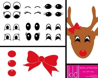 16 Santa Sack svg - Reindeer svg - Reindeer Eyes - Eye svg - Nose svg - Bow svg - Christmas svg - Nose svg - Bow svg