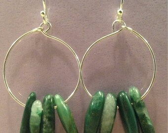 Silver Hoop Earrings with Jade Spike Beads
