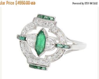 ON SALE Art Deco Platinum Emerald & Diamond Ring | Diamond Emerald Engagement Ring Vintage || 17437