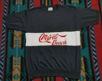Vtg 70s Myrtle Beach Shirt by Summer Strand | Vintage Retro 1970s Black White Red | Mens Womens XL | Made in USA | TUFF