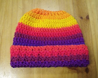 New Handmade Crochet Rainbow Autism Peace Ponytail Messy Bun Hat Beanie